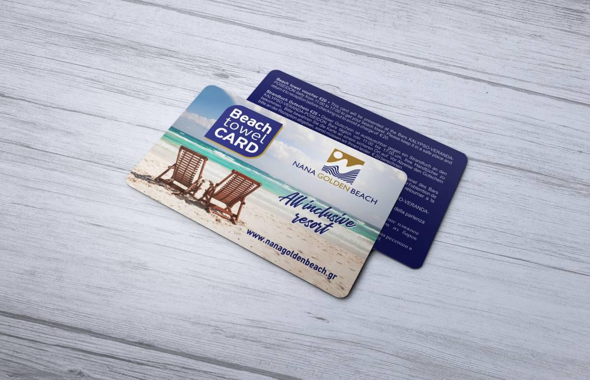 Nana Golden Beach towel card